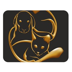 Gold Dog Cat Animal Jewel Dor¨| Double Sided Flano Blanket (large)