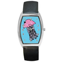 Jellyfish Cute Illustration Cartoon Barrel Style Metal Watch
