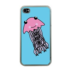 Jellyfish Cute Illustration Cartoon Apple Iphone 4 Case (clear)