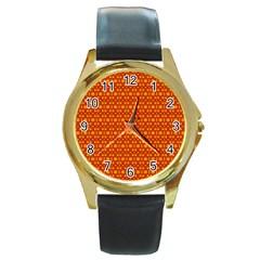 Pattern Creative Background Round Gold Metal Watch