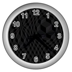 Pattern Dark Black Texture Background Wall Clocks (silver)