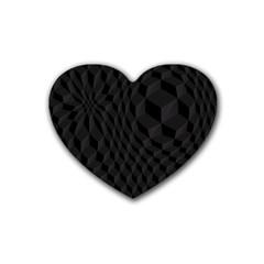 Pattern Dark Black Texture Background Heart Coaster (4 Pack)