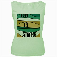 Love Sign Romantic Abstract Women s Green Tank Top