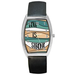 Love Sign Romantic Abstract Barrel Style Metal Watch