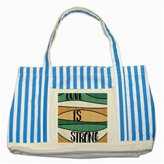 Love Sign Romantic Abstract Striped Blue Tote Bag