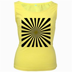 Rays Stripes Ray Laser Background Women s Yellow Tank Top