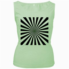 Rays Stripes Ray Laser Background Women s Green Tank Top
