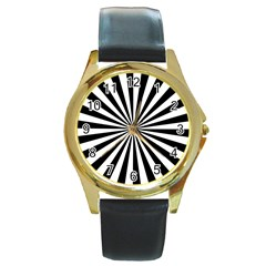 Rays Stripes Ray Laser Background Round Gold Metal Watch