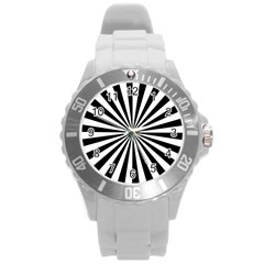 Rays Stripes Ray Laser Background Round Plastic Sport Watch (l)