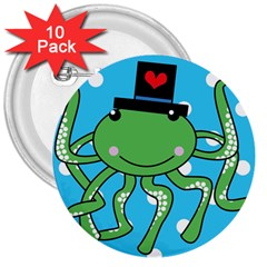 Octopus Sea Animal Ocean Marine 3  Buttons (10 Pack)