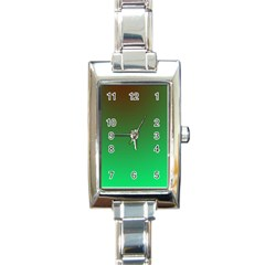 Course Colorful Pattern Abstract Green Rectangle Italian Charm Watch