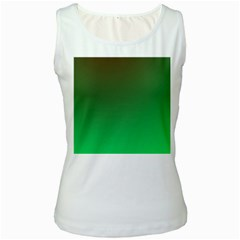Course Colorful Pattern Abstract Green Women s White Tank Top