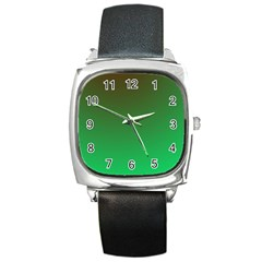Course Colorful Pattern Abstract Green Square Metal Watch