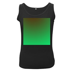 Course Colorful Pattern Abstract Green Women s Black Tank Top