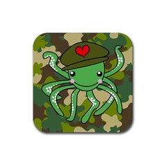 Octopus Army Ocean Marine Sea Rubber Square Coaster (4 Pack)