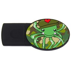 Octopus Army Ocean Marine Sea Usb Flash Drive Oval (2 Gb)
