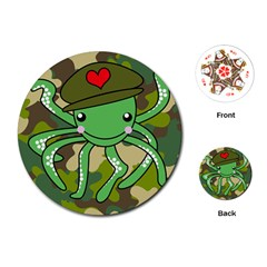 Octopus Army Ocean Marine Sea Playing Cards (round)
