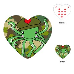 Octopus Army Ocean Marine Sea Playing Cards (heart)