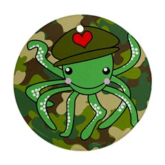 Octopus Army Ocean Marine Sea Round Ornament (two Sides)