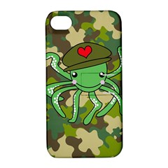 Octopus Army Ocean Marine Sea Apple Iphone 4/4s Hardshell Case With Stand