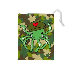Octopus Army Ocean Marine Sea Drawstring Pouches (medium)