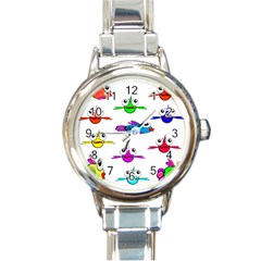 Fish Swim Cartoon Funny Cute Round Italian Charm Watch
