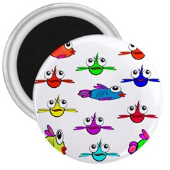 Fish Swim Cartoon Funny Cute 3  Magnets