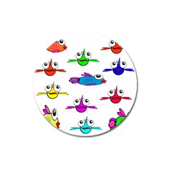 Fish Swim Cartoon Funny Cute Magnet 3  (round)