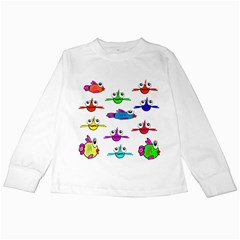 Fish Swim Cartoon Funny Cute Kids Long Sleeve T Shirts