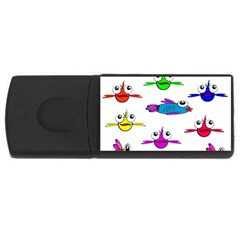 Fish Swim Cartoon Funny Cute Rectangular Usb Flash Drive