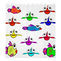 Fish Swim Cartoon Funny Cute Shower Curtain 66  X 72  (large)