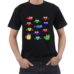 Fish Swim Cartoon Funny Cute Men s T Shirt (black)