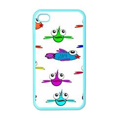 Fish Swim Cartoon Funny Cute Apple Iphone 4 Case (color)