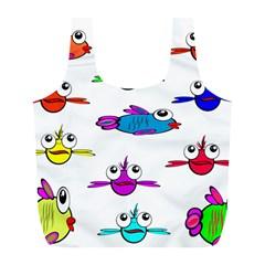 Fish Swim Cartoon Funny Cute Full Print Recycle Bags (l)