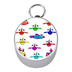 Fish Swim Cartoon Funny Cute Mini Silver Compasses