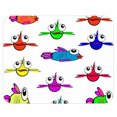 Fish Swim Cartoon Funny Cute Double Sided Flano Blanket (medium)