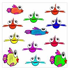 Fish Swim Cartoon Funny Cute Large Satin Scarf (square)