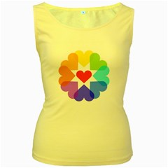 Heart Love Romance Romantic Women s Yellow Tank Top