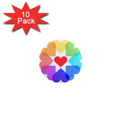 Heart Love Romance Romantic 1  Mini Magnet (10 Pack)