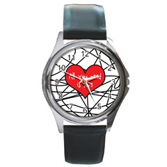 Love Abstract Heart Romance Shape Round Metal Watch