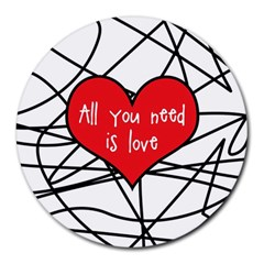 Love Abstract Heart Romance Shape Round Mousepads