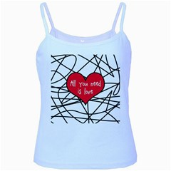 Love Abstract Heart Romance Shape Baby Blue Spaghetti Tank