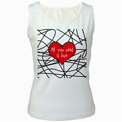 Love Abstract Heart Romance Shape Women s White Tank Top