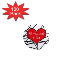 Love Abstract Heart Romance Shape 1  Mini Magnets (100 Pack)