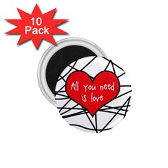 Love Abstract Heart Romance Shape 1 75  Magnets (10 Pack)