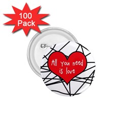 Love Abstract Heart Romance Shape 1 75  Buttons (100 Pack)
