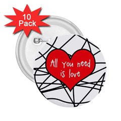 Love Abstract Heart Romance Shape 2 25  Buttons (10 Pack)