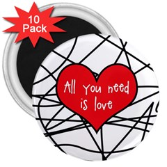 Love Abstract Heart Romance Shape 3  Magnets (10 Pack)