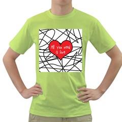 Love Abstract Heart Romance Shape Green T Shirt
