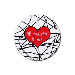 Love Abstract Heart Romance Shape Rubber Round Coaster (4 Pack)